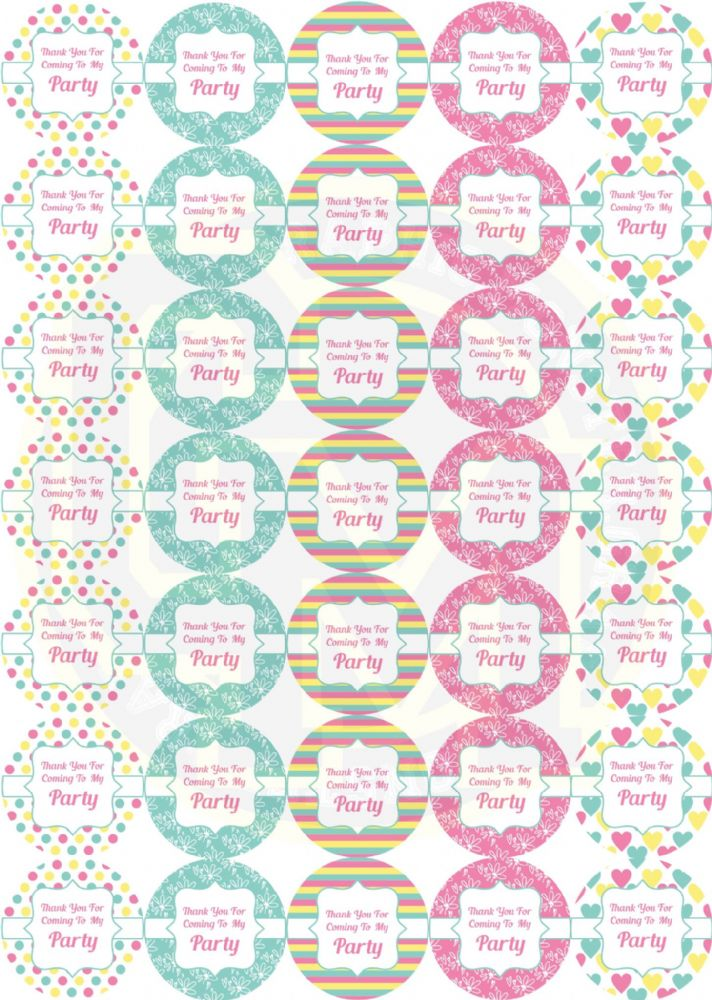 Pretty Birthday Party Stickers
